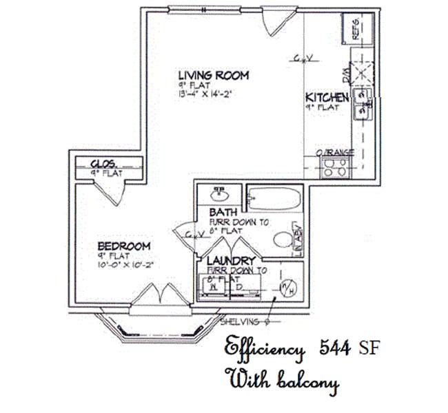 544 sq. ft. to 608 sq. ft. floor plan