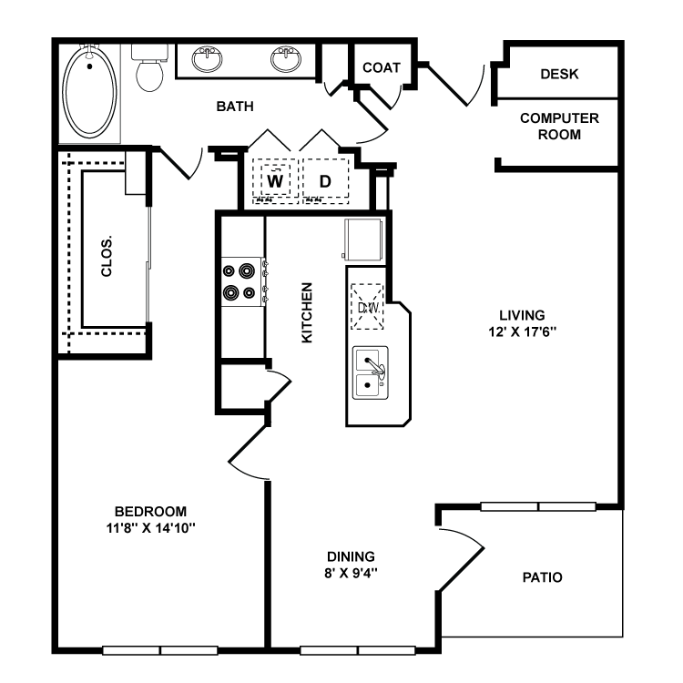 886 sq. ft. Whitney floor plan