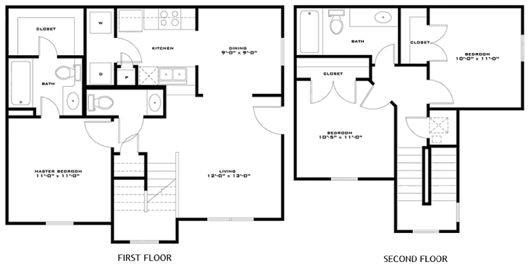 1,109 sq. ft. Macintosh 60% floor plan