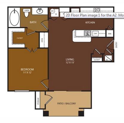 674 sq. ft. Montgomery floor plan