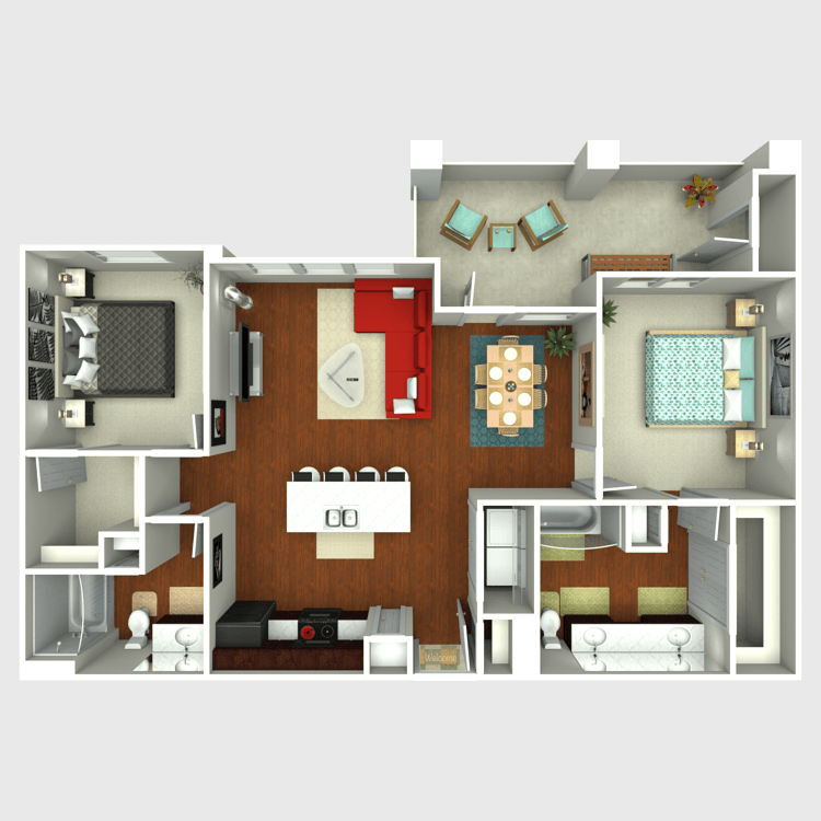1,116 sq. ft. B3 floor plan