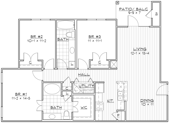 1,228 sq. ft. 60% floor plan