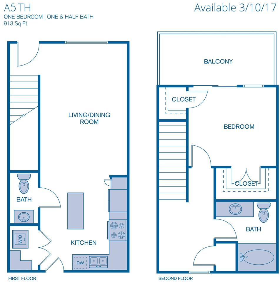 913 sq. ft. A5 floor plan