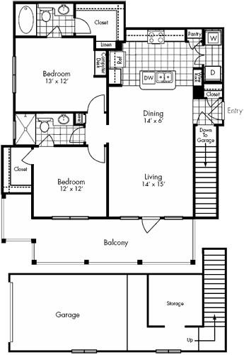 1,104 sq. ft. Lamar floor plan