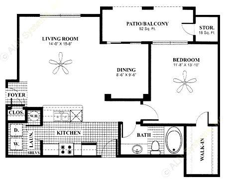 819 sq. ft. Alcove w/Gar floor plan