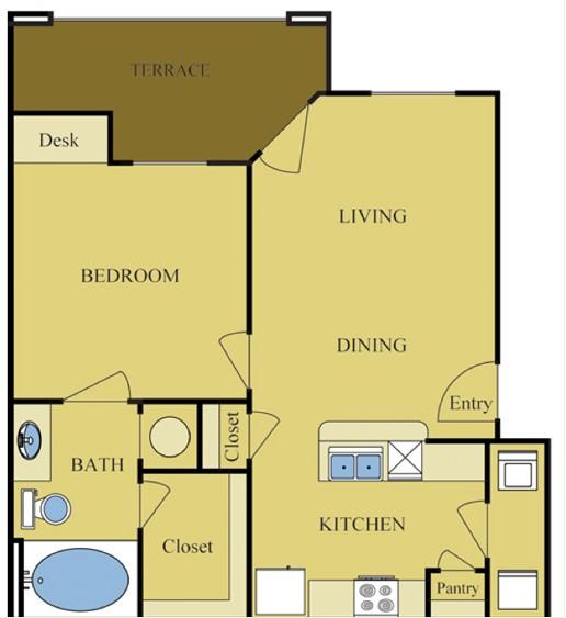 622 sq. ft. Pine floor plan