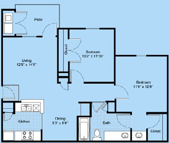 881 sq. ft. B1-Altura floor plan