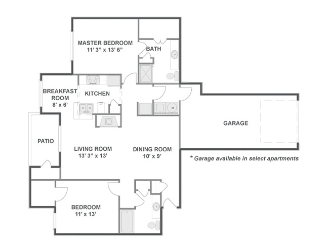 1,188 sq. ft. floor plan