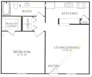 693 sq. ft. H floor plan