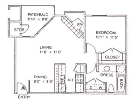 692 sq. ft. B floor plan