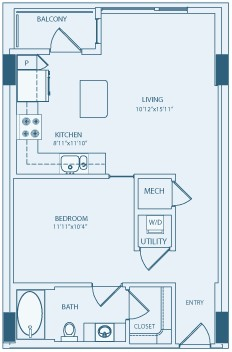667 sq. ft. A1A floor plan
