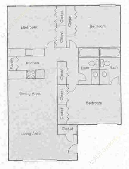 1,130 sq. ft. C2 floor plan