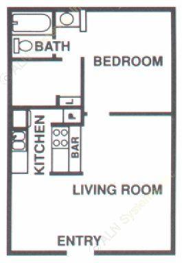 553 sq. ft. A1 floor plan