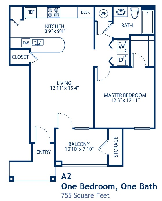 755 sq. ft. A2 floor plan