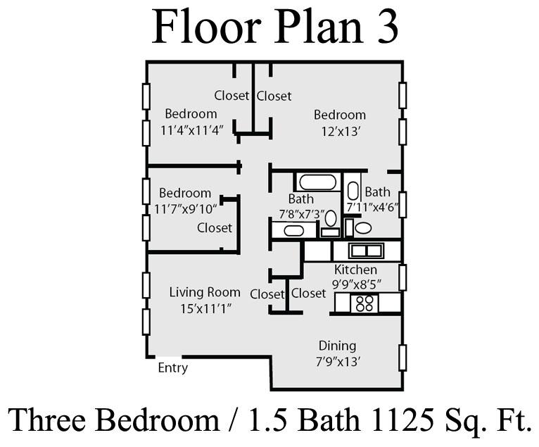 1,125 sq. ft. C floor plan
