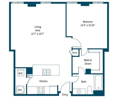880 sq. ft. AN floor plan