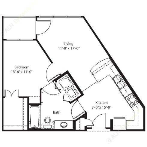 606 sq. ft. Coleman floor plan