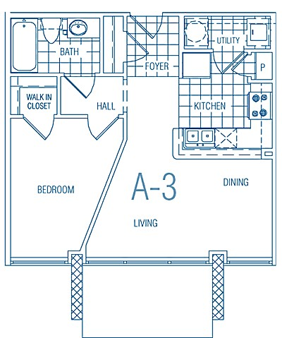 533 sq. ft. A3 60% floor plan