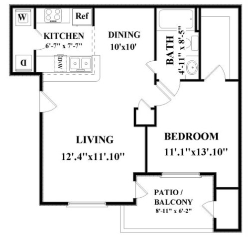 725 sq. ft. Brazos floor plan