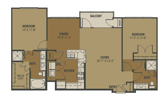 1,204 sq. ft. Luna floor plan