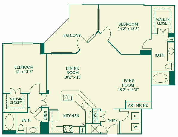 1,313 sq. ft. B3 floor plan