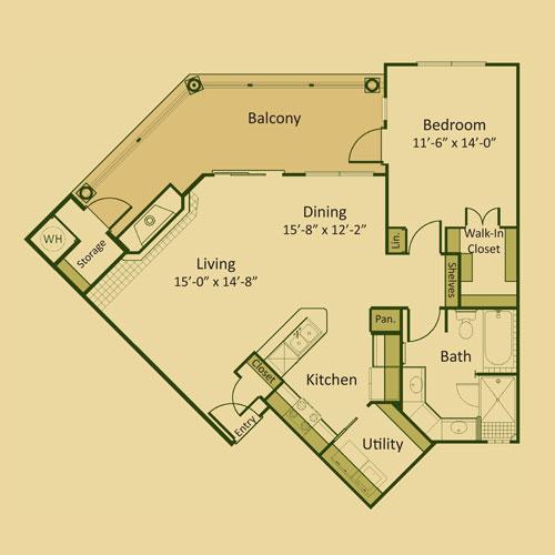 928 sq. ft. 1C-FP floor plan
