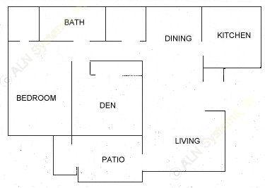 881 sq. ft. A floor plan