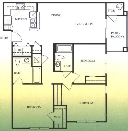 1,240 sq. ft. D/60 floor plan