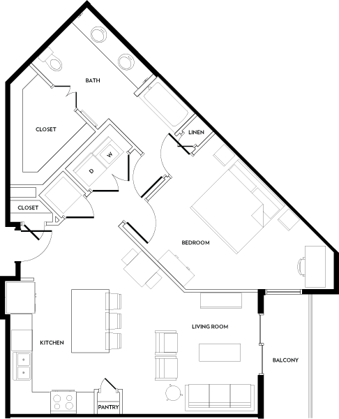 883 sq. ft. A10 floor plan