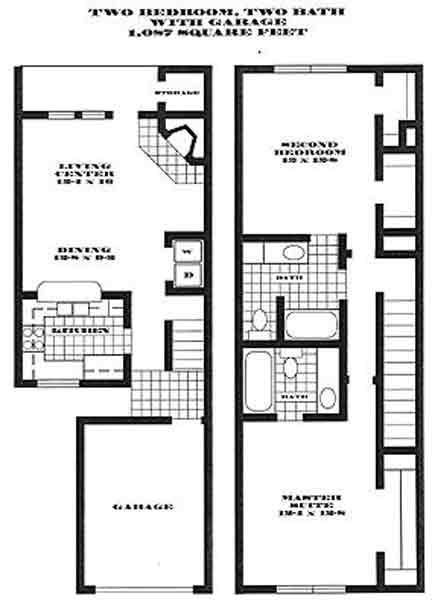 1,087 sq. ft. S1 PH II floor plan