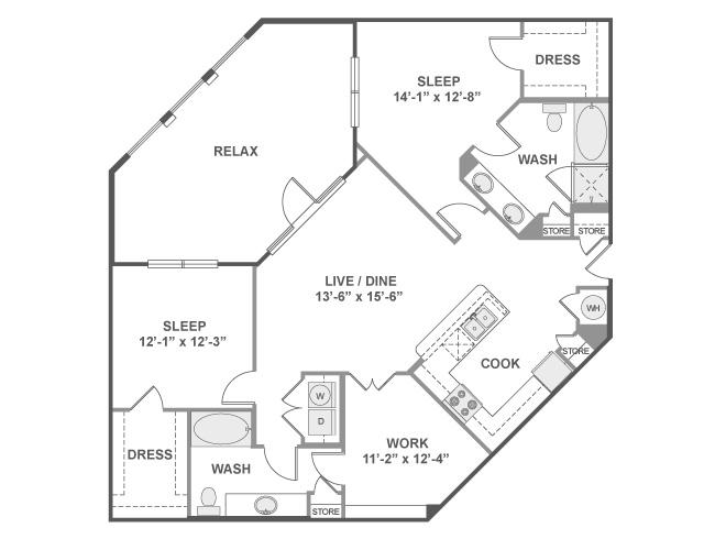 1,355 sq. ft. C7 floor plan