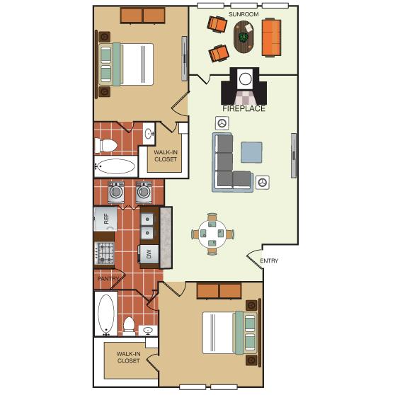 988 sq. ft. 2G floor plan