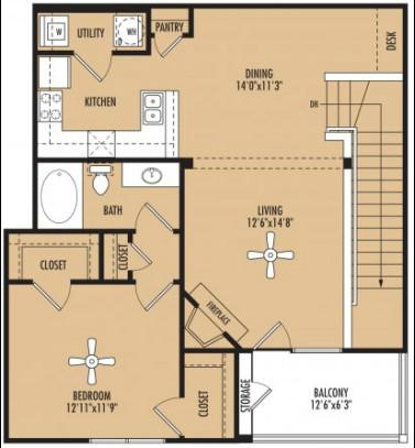 939 sq. ft. floor plan