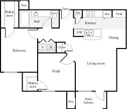 867 sq. ft. B2 floor plan