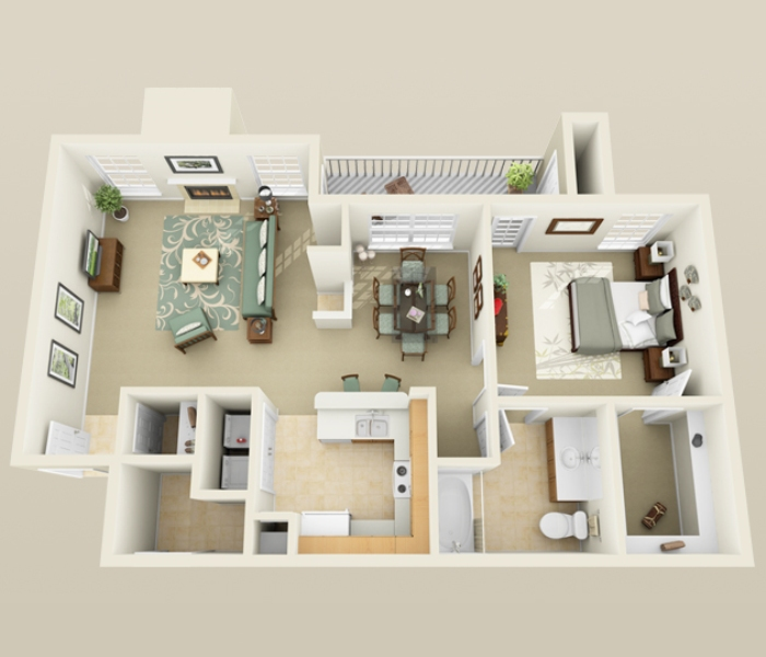 956 sq. ft. A3 floor plan