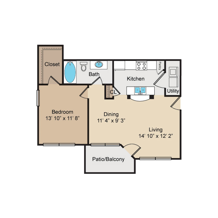 773 sq. ft. A2 floor plan