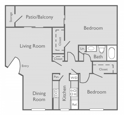 922 sq. ft. to 977 sq. ft. D-D1 floor plan