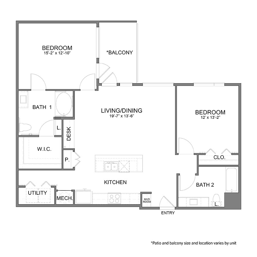 1,254 sq. ft. B3HC floor plan