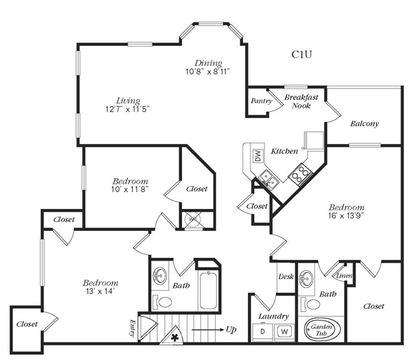 1,458 sq. ft. C1U floor plan