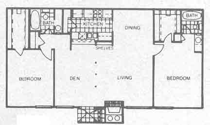 1,158 sq. ft. B6 floor plan