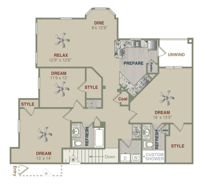 1,584 sq. ft. C1UG floor plan