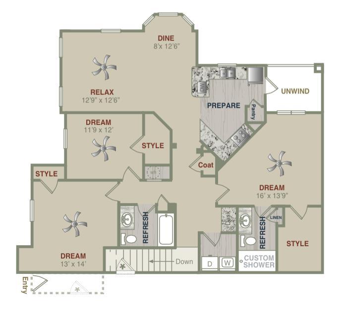 1,584 sq. ft. C1UG floor plan