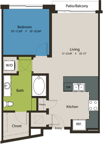 692 sq. ft. A8E floor plan