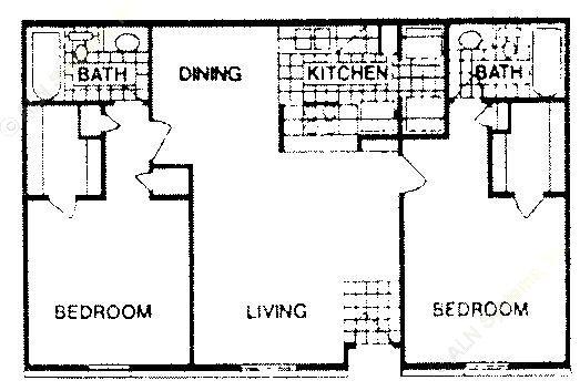 890 sq. ft. C floor plan