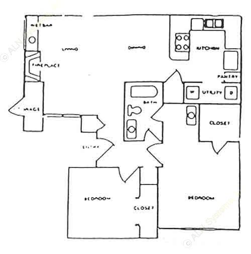 819 sq. ft. A floor plan