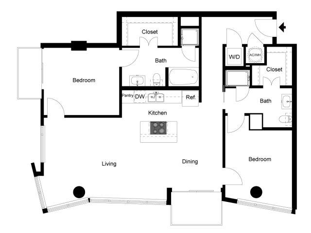 1,030 sq. ft. 2A floor plan