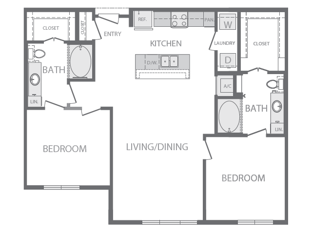 1,107 sq. ft. L floor plan