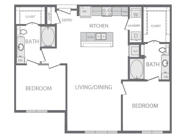 1,107 sq. ft. L floor plan