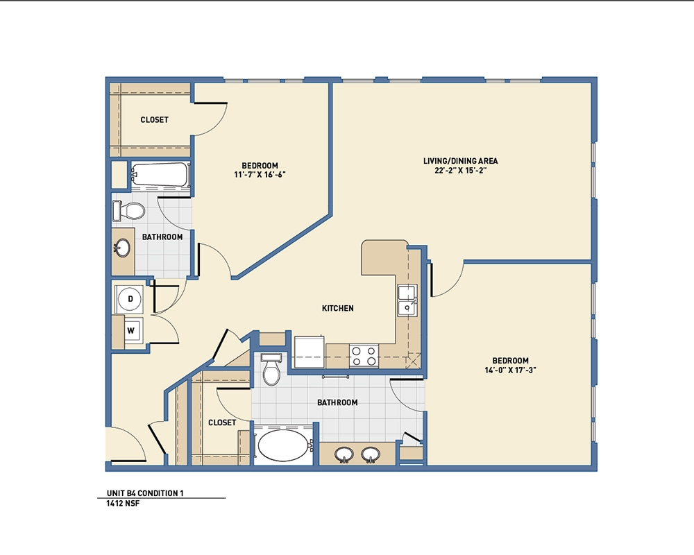 1,412 sq. ft. B4 floor plan