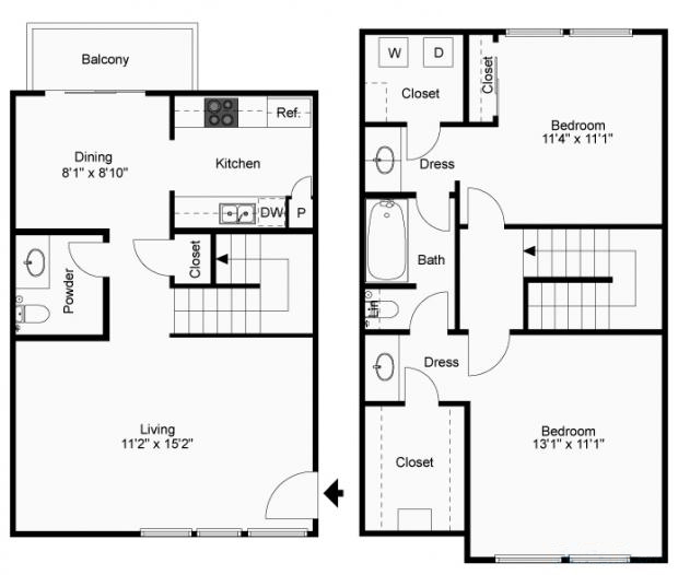 1,040 sq. ft. B-3T floor plan